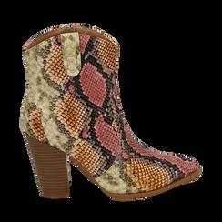 Santiags rose/beige en simili-cuir imprimé serpent, talon 9 cm, Chaussures, 154930037PTRSBE036, 001a
