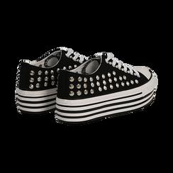 Sneakers nere in canvas con borchie, platform 4 cm, Scarpe, 132619223CANERO037, 004 preview