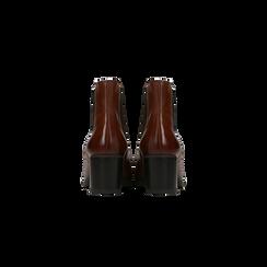 Chelsea Boots in vera pelle colore cuoio, tacco medio 6 cm, Scarpe, 127711422PECUOI, 003 preview