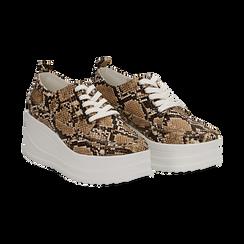 Sneakers beige in eco-pelle effetto snake print, zeppa 6 cm, Scarpe, 132008353PTBEIG036, 002 preview