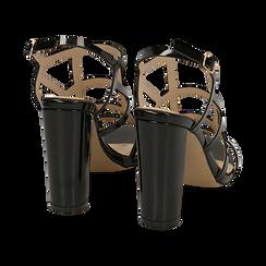 Sandali neri in vernice, tacco 10,50 cm, Scarpe, 152123413VENERO036, 004 preview