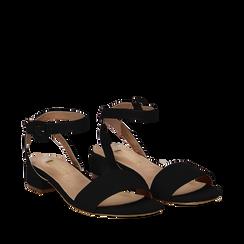 Sandali bassi neri in microfibra, tacco 3,50 cm, Scarpe, 134819193MFNERO035, 002a