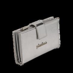 Portafogli argento in eco-pelle laminata, Primadonna, 155122158LMARGEUNI, 002a