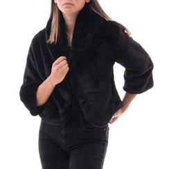 Pelliccia corta nera in eco-fur, Abbigliamento, 14B443008FUNEROL, 001 preview