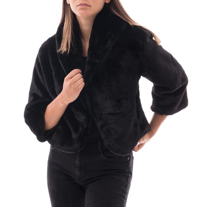 Pelliccia corta nera in eco-fur, Abbigliamento, 14B443008FUNEROL