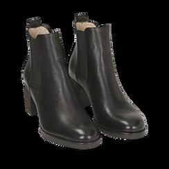 Chelsea boots neri in pelle, tacco 6 cm, Scarpe, 157711439PENERO035, 002a
