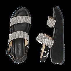 Sandali neri in microfibra, zeppa 4,50 cm , Scarpe, 154991102MPNERO036, 003 preview