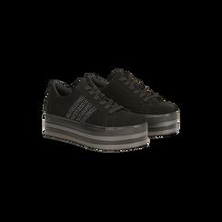 Sneakers nere suola platform multistrato, Primadonna, 122818575MFNERO036, 002