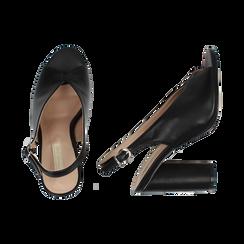 Slingback nere open-toe in eco-pelle, tacco 10 cm, Primadonna, 132708372EPNERO036, 003 preview