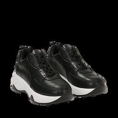 Dad shoes nere in eco-pelle, zeppa 5 cm , Scarpe, 142008356EPNERO035, 002a