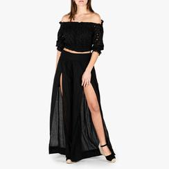 Pantaloni neri in tessuto paisley print, Primadonna, 150500269TSNEROUNI, 001a