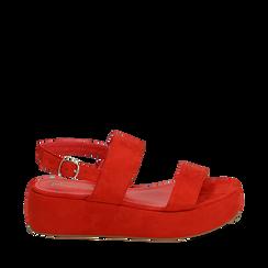Sandali rossi in microfibra, zeppa 5 cm , Zapatos, 159790136MFCORA036, 001a