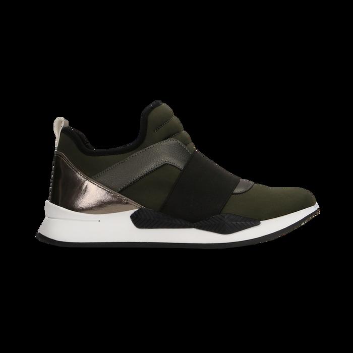 Sneakers verdi con tacco basso, Scarpe, 121617843LYVERD