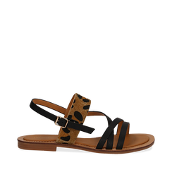 Sandali neri in eco-pelle con dettaglio leopard, Primadonna, 135201203EPNERO035, 001a
