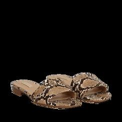 Mules flat beige in eco-pelle, effetto snake skin, Primadonna, 132708189PTBEIG035, 002a