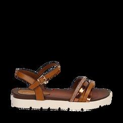 Sandali flat cuoio in eco-pelle con suola in gomma bianca, Primadonna, 111766306EPCUOI038, 001a