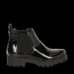 Chelsea boots neri in vernice, Stivaletti, 140608573VENERO035, 001a