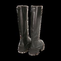 Stivali chunky neri in pelle di vitello, tacco 4 cm, Primadonna, 16A500050VINERO035, 003 preview