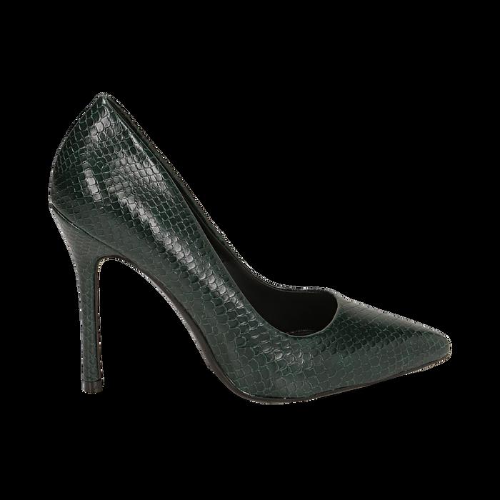 Décolleté verdi stampa vipera, tacco 10,50 cm , Primadonna, 162146861EVVERD035