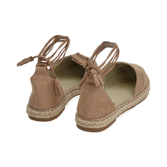 Espadrillas lace-up beige in microfibra, Zapatos, 154933051MFBEIG038, 004 preview