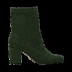 Ankle boots verdi in microfibra, tacco 7,5 cm , Stivaletti, 143072170MFVERD036, 001a