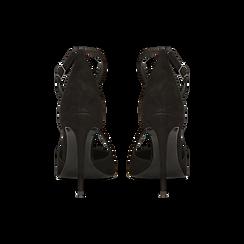 Décolleté nere in vero camoscio con cinturini incrociati, tacco 10 cm, Primadonna, 12D617112CMNERO, 003 preview