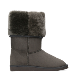 Scarponcini invernali scamosciati grigi con risvolto in eco-fur, 125001204MFGRIG035, 001a