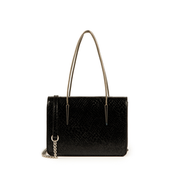 Petit sac noir en simili-cuir imprimé serpent, Primadonna, 155122812PTNEROUNI, 001a