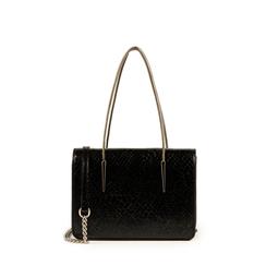 Mini bag nera stampa pitone, Borse, 155122812PTNEROUNI, 001a