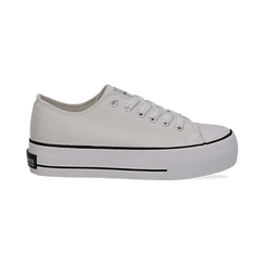 Sneakers bianche in canvas, platform 4 cm, Scarpe, 132619385CABIAN036, 001 preview