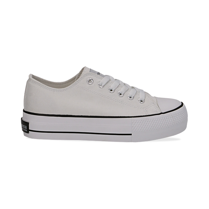 Sneakers bianche in canvas, platform 4 cm, Scarpe, 132619385CABIAN036
