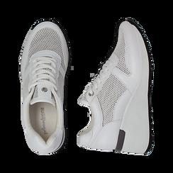 Sneakers bianche in eco-pelle con zeppa, Scarpe, 132008360EPBIAN036, 003 preview