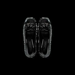 Mocassini décolleté neri con frange, tacco 5,5 cm, Scarpe, 122186581LMNERO, 004 preview