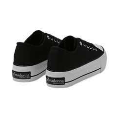 Sneakers bianche in canvas, platform 4 cm, Scarpe, 132619385CANERO038, 004 preview