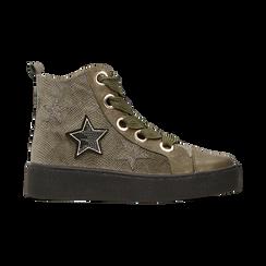 Sneakers verdi in velluto con stelle, Scarpe, 121617684VLVERD, 001 preview