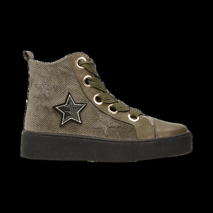 Sneakers verdi in velluto con stelle, Scarpe, 121617684VLVERD