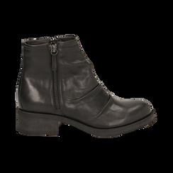 Biker boots neri in pelle, tacco 4 cm , Stivaletti, 147718220PENERO036, 001 preview