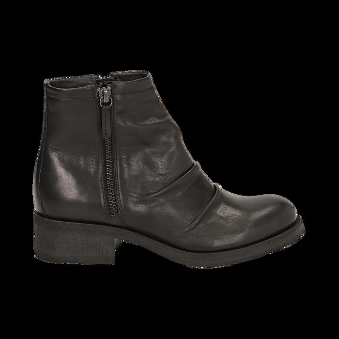 Biker boots neri in pelle, tacco 4 cm , Stivaletti, 147718220PENERO036