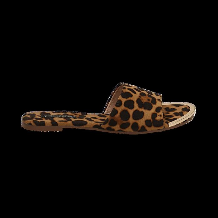 Mules flat leopard in microfibra, Primadonna, 134989113MFLEOP036