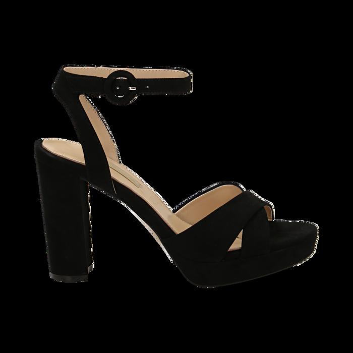 Sandali neri in microfibra, tacco 9,5 cm, Sandali con tacco, 152118585MFNERO035