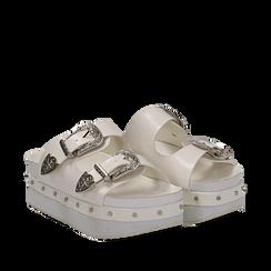 Zeppe platform bianche in eco-pelle con fibbie e borchie, zeppa 6 cm, Primadonna, 112008782EPBIAN038, 002a