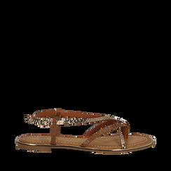 Sandali flat beige in eco-pelle, dettagli snake skin, Saldi Estivi, 134987048PTBEIG035, 001a
