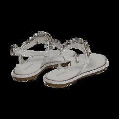Sandali bianchi in pelle con strass, Primadonna, 136200941PEBIAN036, 004 preview