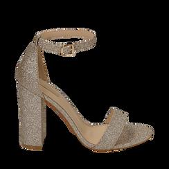 Sandali oro glitter, tacco 10,50 cm, Scarpe, 152706086GLOROG035, 001a