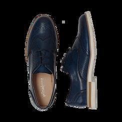 Stringate blu in eco-pelle con lavorazione Duilio, Scarpe, 130609561EPBLUE036, 003 preview