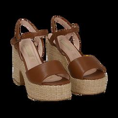 Sandali cuoio in eco-pelle con plateau, tacco 11 cm , Saldi, 133401986EPCUOI036, 002 preview