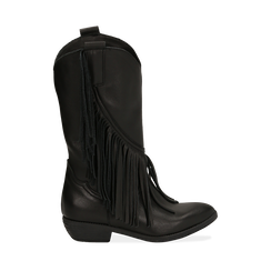 Botas camperas negro en piel de becerro, tacón 4 cm, Primadonna, 168989100VINERO037, 001a