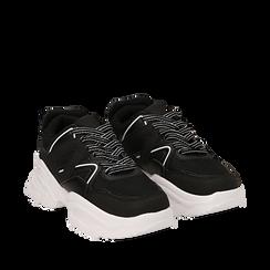 Dad shoes nere in tessuto tecnico con dettagli bianchi, zeppa 6 cm , Scarpe, 14D814101TSNERO035, 002a
