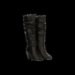 Stivali neri gambale drappeggiato in vera pelle, tacco cono 8 cm, Primadonna, 12D613914VINERO, 002 preview