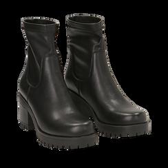 Biker boots neri in eco-pelle, tacco 7 cm , Primadonna, 142828200EPNERO038, 002a